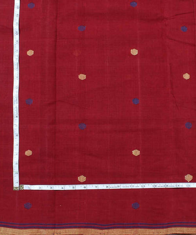 red maroon cotton natural dye handloom fabric