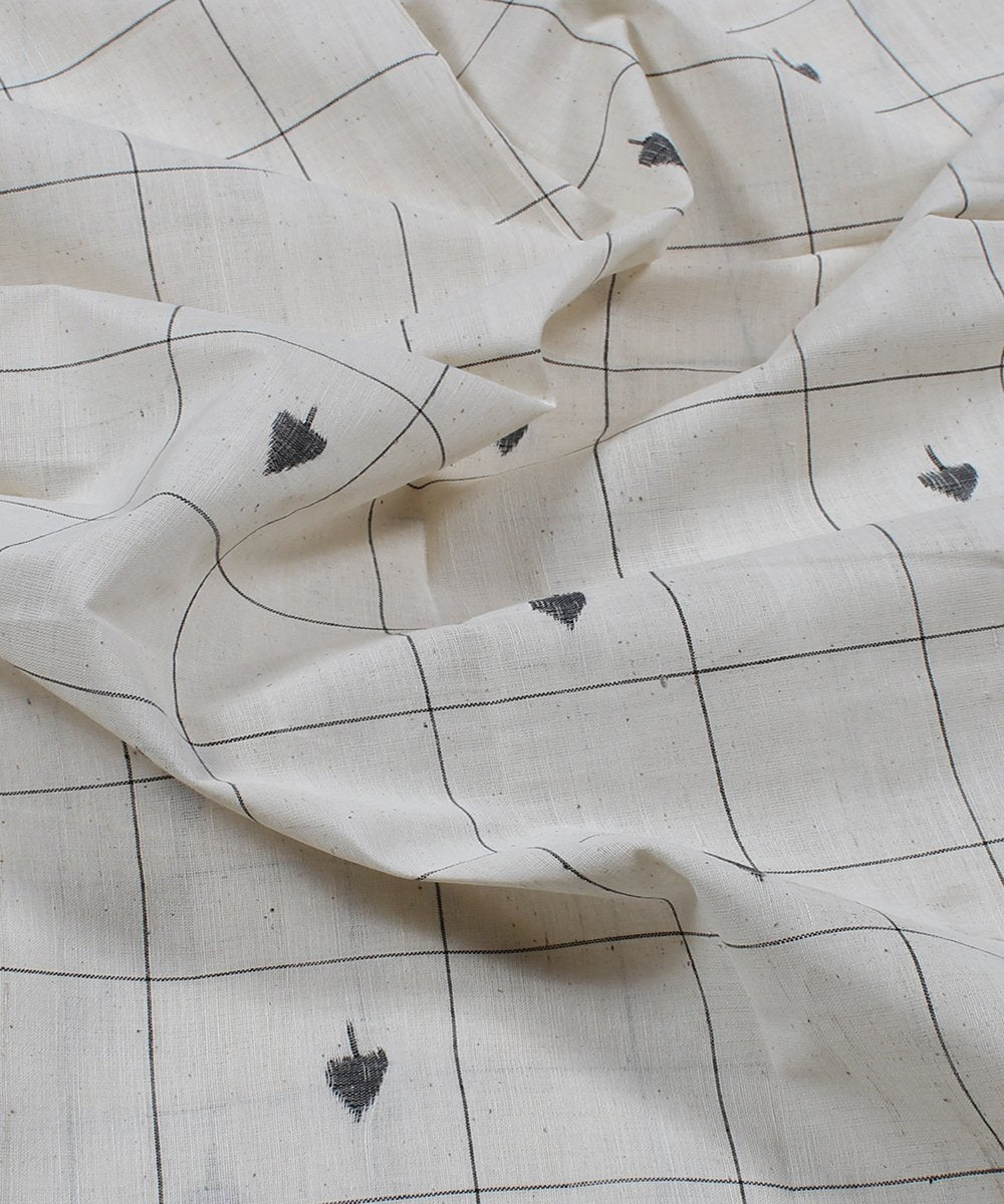 off white checks cotton handloom fabric