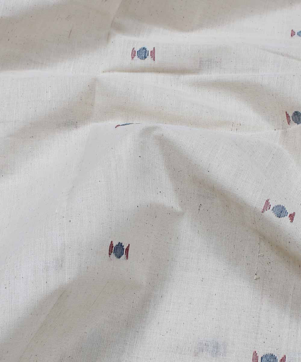off white handloom abstract motif fabric