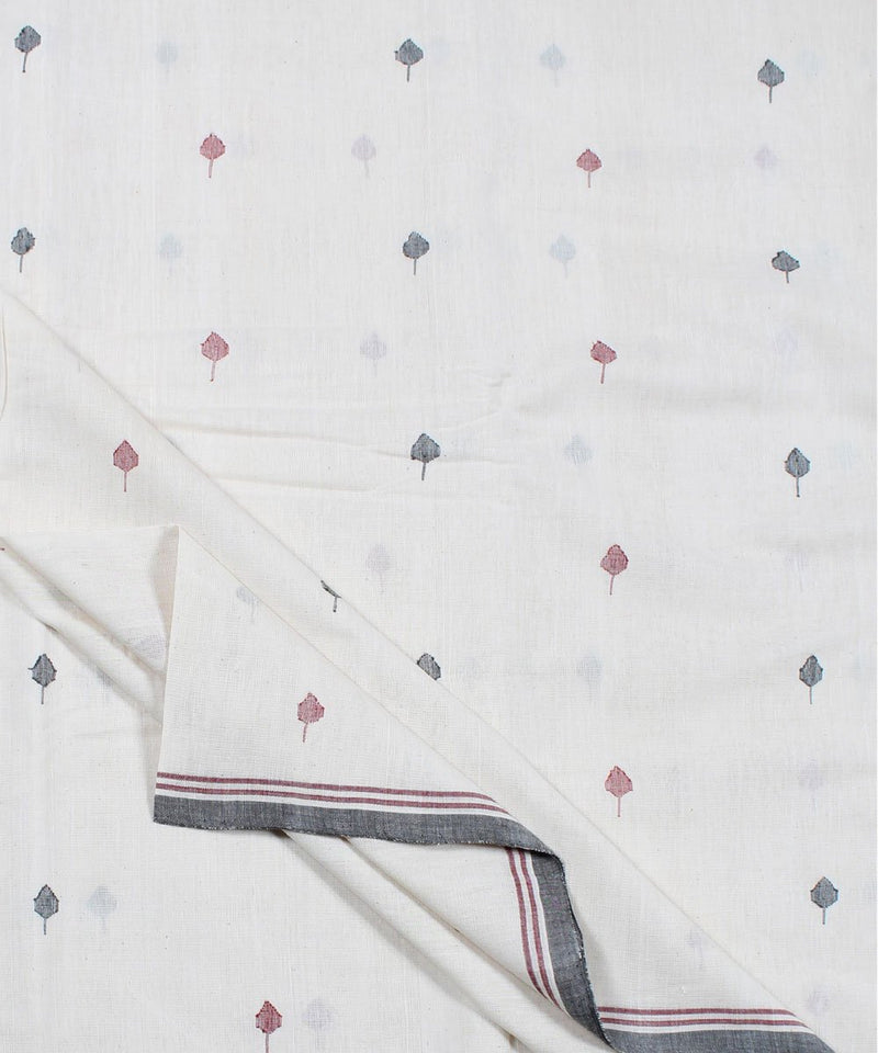 Off white handloom leaf motif fabric