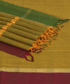 Yellow Green Handloom Bandar Cotton Saree