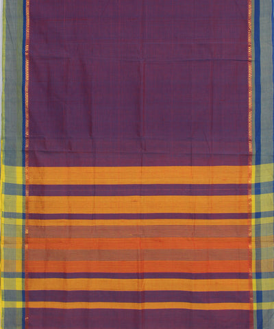 Purple Handloom Bandar Cotton Saree
