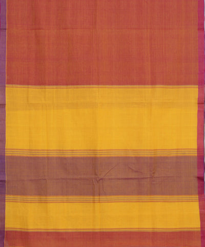 Handloom Rust Orange Bandar Cotton Saree