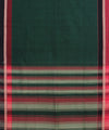 Dark Green Handwoven Bandar Cotton Saree