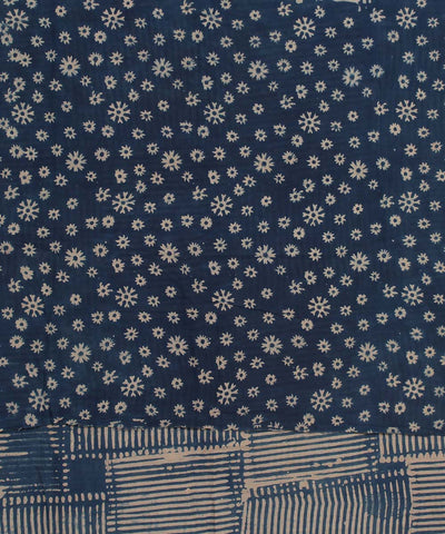 Blue White Ajrakh Hand Print cotton saree
