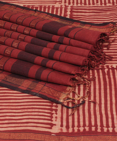 Red and Cream Ajrakh Hand Print cotton saree