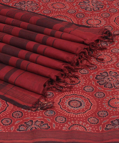 Brick Red Ajrakh Hand Print cotton saree