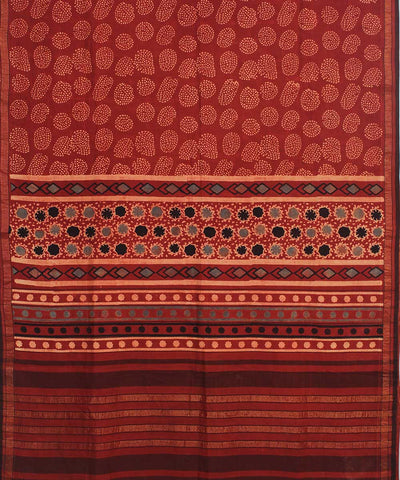 Ajrakh Hand Print Red and Cream cotton saree