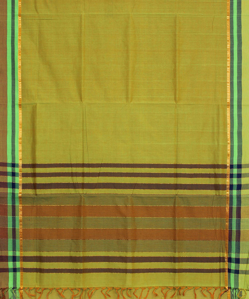 Green Brown Handwoven Bandar Cotton Saree