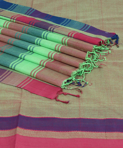 Red Green Handloom Bandar Cotton Saree