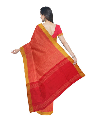 Red Orange Bengal Handloom Handspun Saree