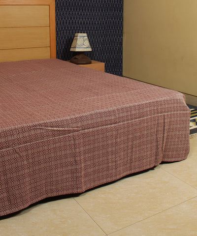 Burgundy Floral Handwoven Cotton Bed Cover