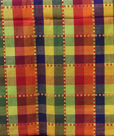 Multi colour Check Handloom Double Bed Sheet