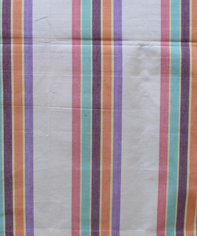 White Colorful Stripe Cotton Single Bed Sheet