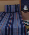 Deep Blue Striped Cotton Single Bed Sheet