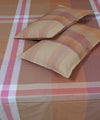 Brown Shades Cotton Checks Double Bed Sheet