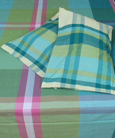 Green Shades Cotton Checks Double Bed Sheet
