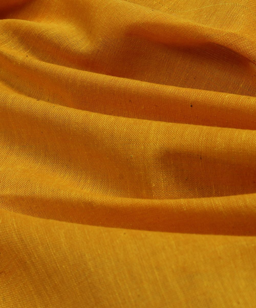 Handloom yellow cotton fabric