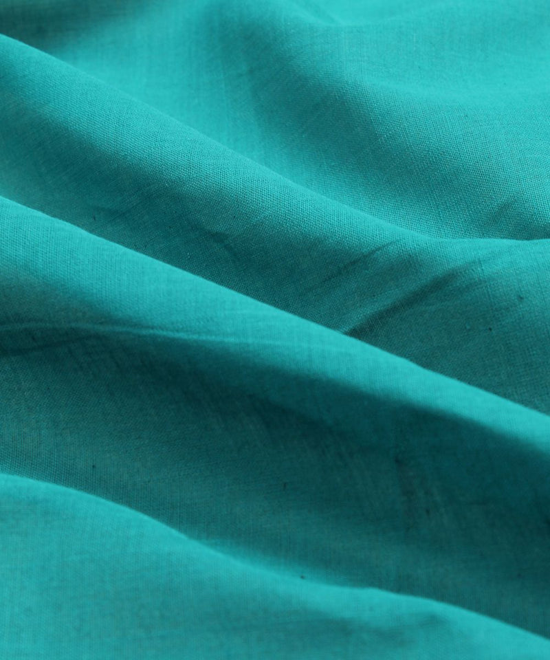 teal blue handloom cotton fabric