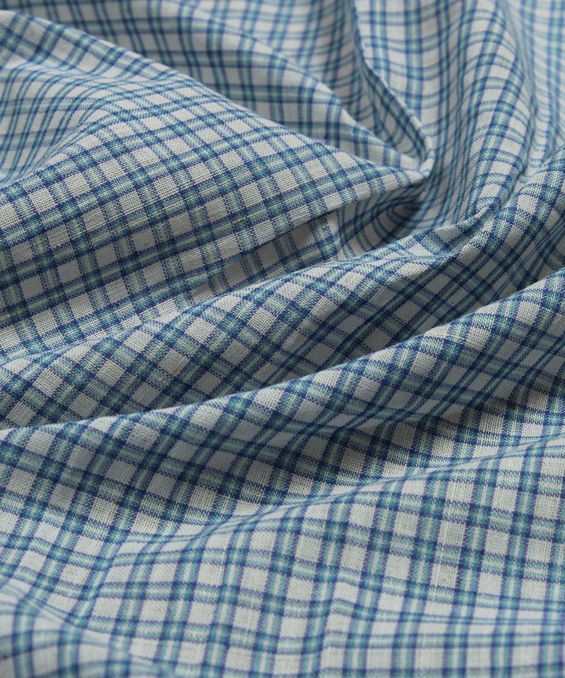 handloom cotton blue white checks fabric