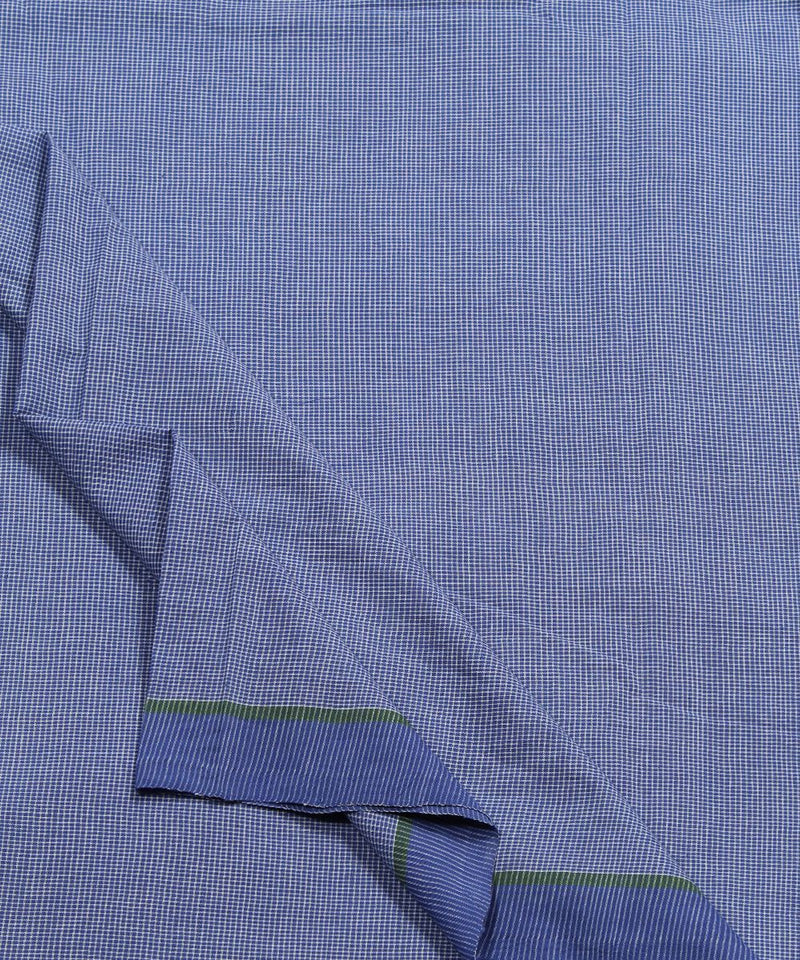 blue white checks cotton handloom fabric