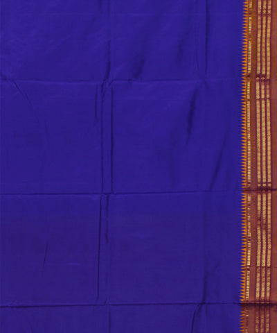 Narayanapet Blue Golden Handwoven Silk Saree