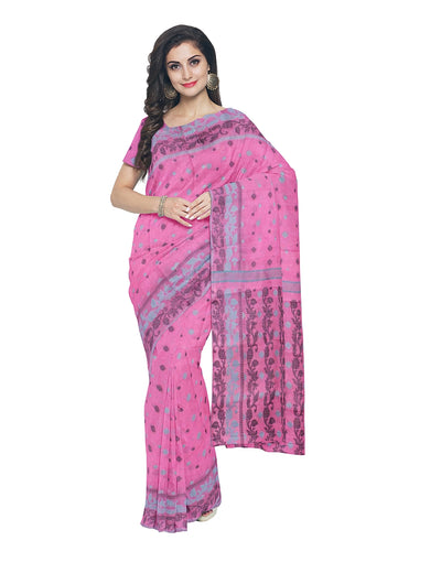 Pink Handloom Tangail Cotton Saree
