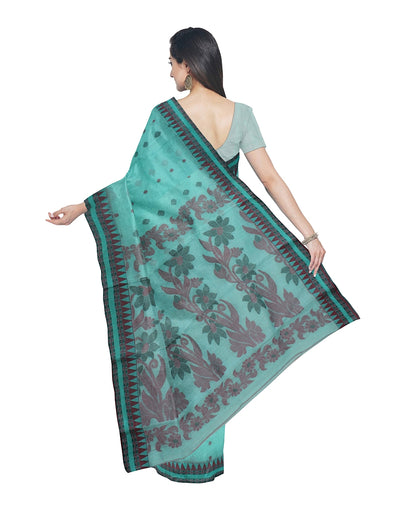 Bengal Handwoven Light Cyan Tant Cotton Saree