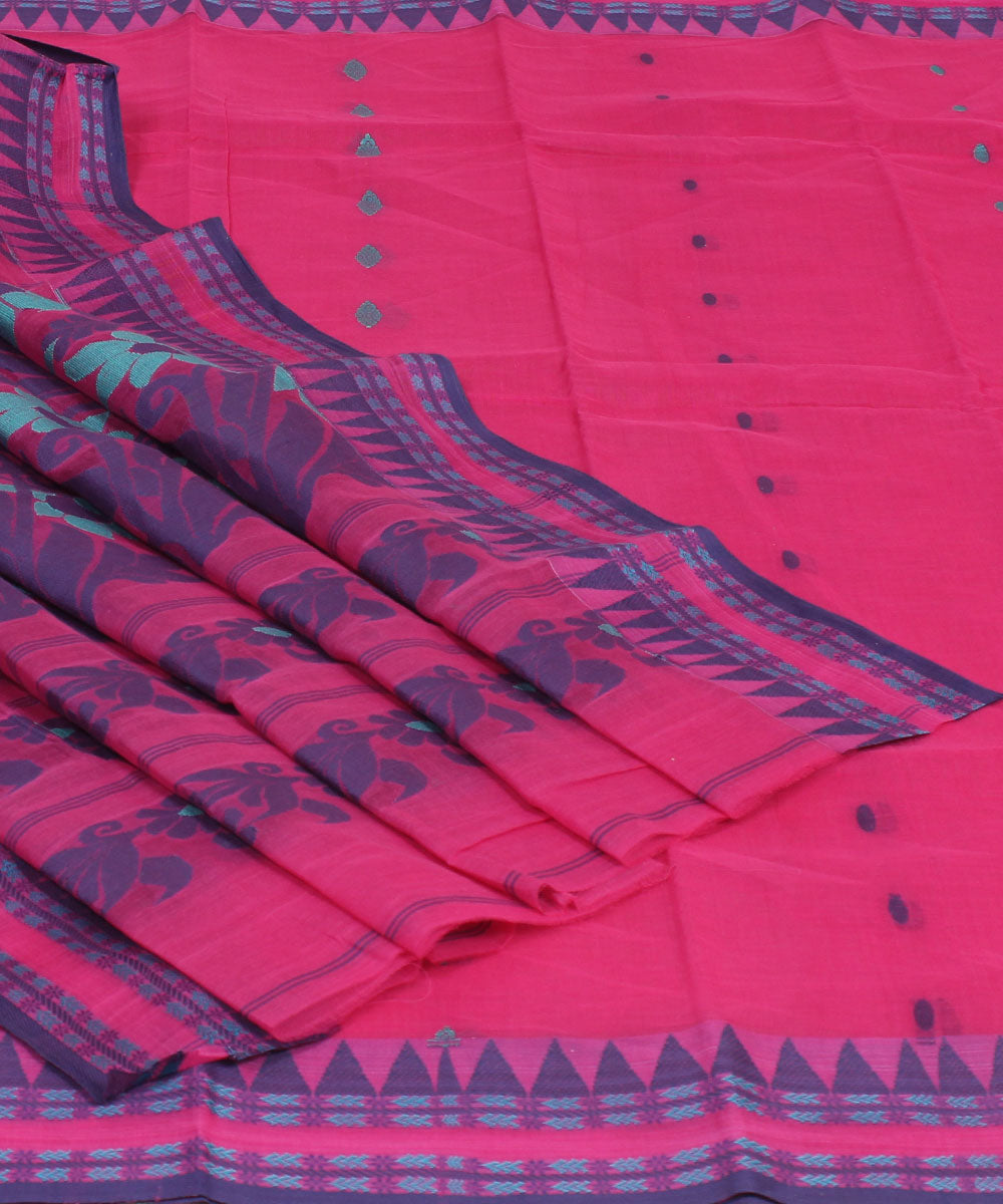 Handwoven Pink Bengal Tangail Cotton Saree