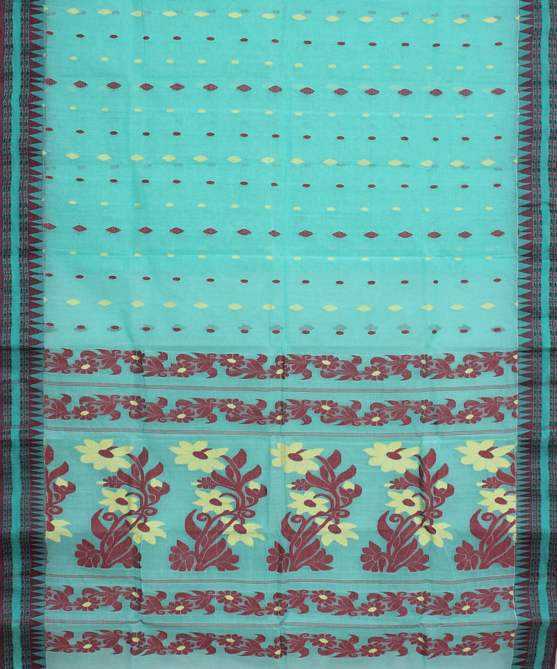 Sea Green Handwoven Tangail Cotton Saree