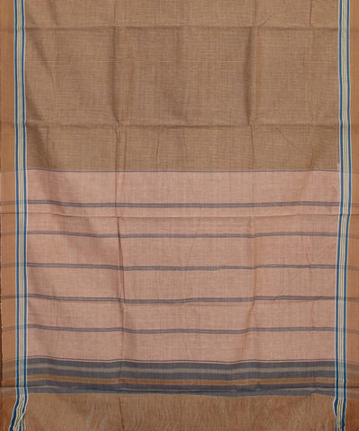 Cotton Handloom Light Brown Checks Saree