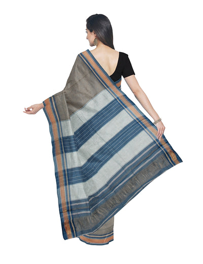 Cotton Handloom Grey Brown Chikki Paras Saree
