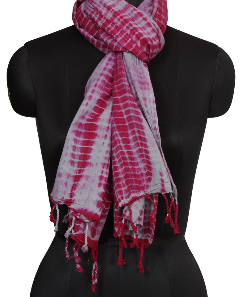 Shibori pink and grey cotton silk stole