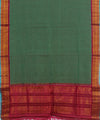 Dark Green Pink Gadwal Handwoven Sico Saree