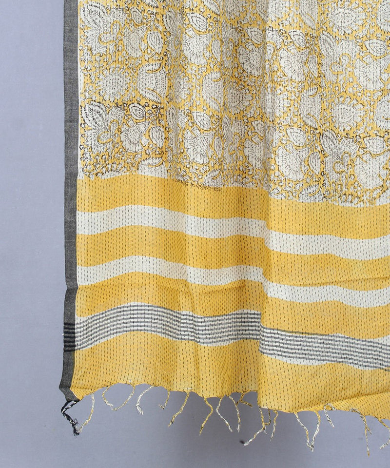 Yellow Bagru Handblock Print Cotton Stole