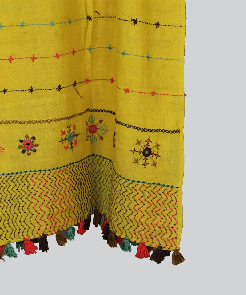 Yellow Lambani Hand Embroidery Cotton Stole