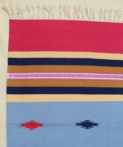 Blue Grey and Pink Handwoven Cotton Dhurrie
