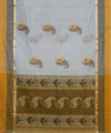 Off White and Brown Cotton Handloom Saree