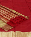 Chanderi Red Zari Handwoven Sico Saree