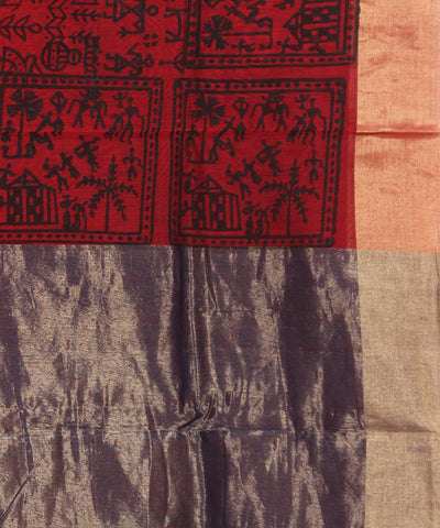 Red Handblock Printed Chanderi Sico Saree