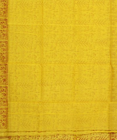 Handblock Printed Yellow Chanderi Sico Saree
