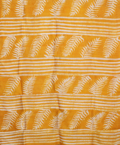 Batik Hand Printed Yellow Silk Saree