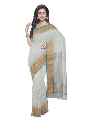 Maheshwari Handwoven White Zari Blue Saree