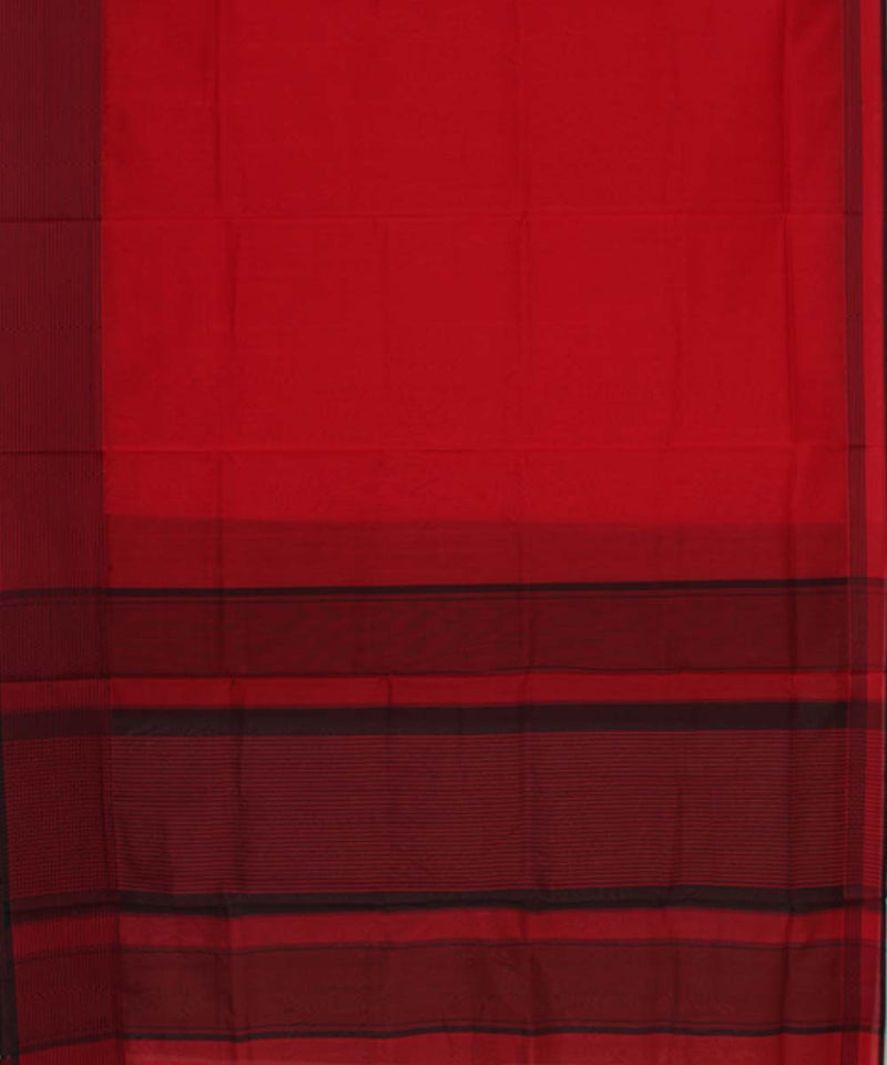 Maheshwari Apple Red Handwoven Sico Saree
