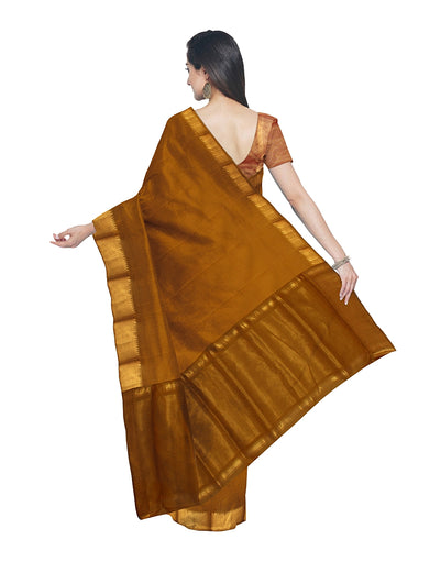 Mustard Handwoven Mangalagiri Cotton Saree