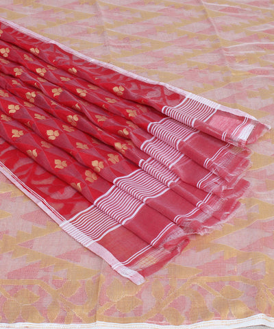 Cream Red Handwoven Bengal Jamdani Saree