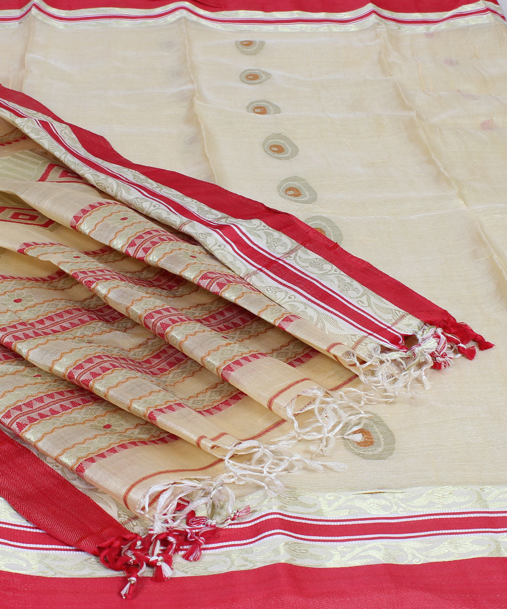 Bengal Red Off White Handwoven Tant Saree