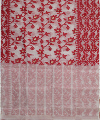 Red White Handwoven Bengal Jamdani Saree