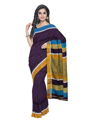 Purple Handwoven Linen Saree