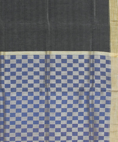 Handloom Grey Blue Bhagalpur Linen Saree
